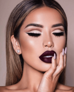 vampy lipstick, fall colors, trends, makeup, iluvsarahii, karen gonzalez, nyane, winged liner, chic studios