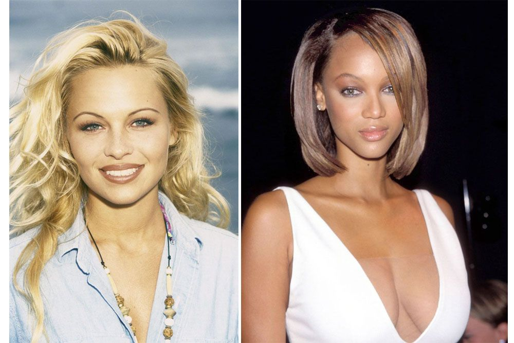pamela anderson, tyra banks, looks from the 90s